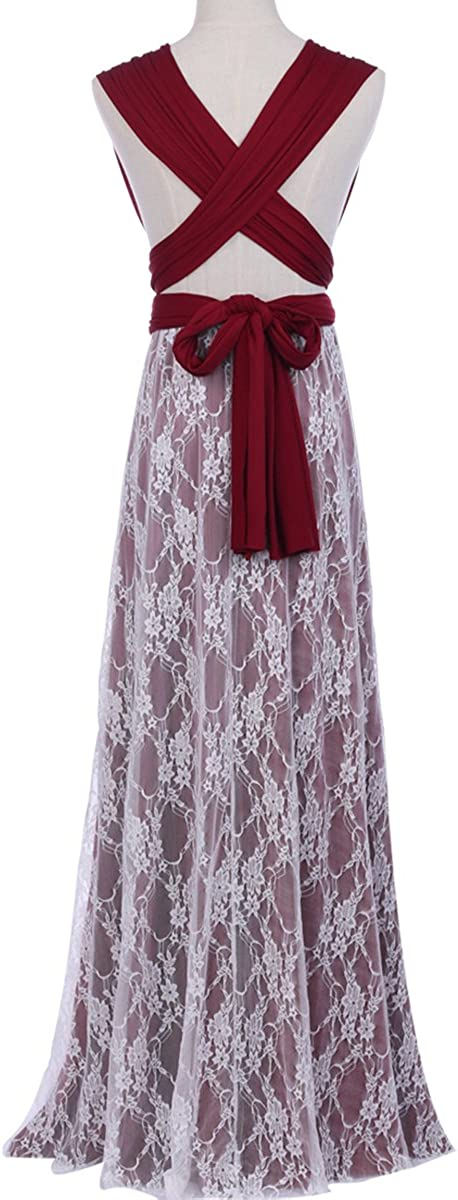 Women Transformer Convertible Multi-Way Wrap Evening Long Prom Dress Flowy Wedding Formal Party Flower Lace Halter Maxi Gown