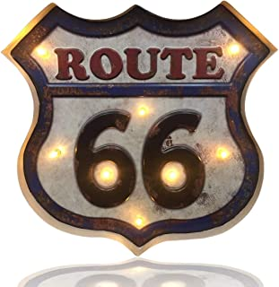 Vintage Handmade Metal Marquee Embossed Tin Decor, Industrial Style Light Up Sign, for Home, Bar or Cafe Wall Decor, Retro Sign, On/Off Switch (Route 66)