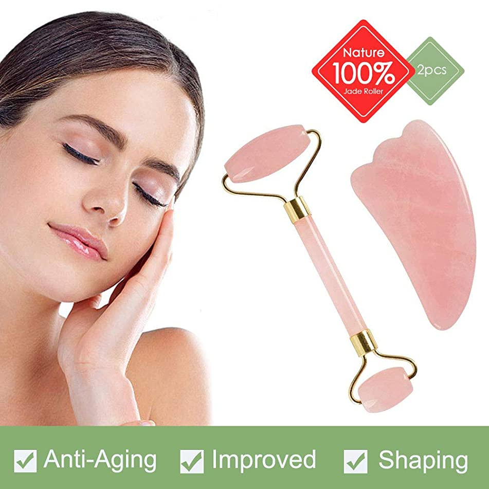 Jade Roller - Rose Quartz Roller and Gua Sha set - Anti Aging Facial Roller - Face Massager - Real Rose Quartz Scraping Tool for Slimming, Firming, Removes Wrinkles