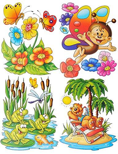 alles-meine.de GmbH 4 Bögen: Fensterbild mit Glitzer - lustige Tiere - Frosch - Teddy auf der Insel - Seepferd - Schmetterling - Sticker Fenstersticker / z.B. für Fenster und SPI..