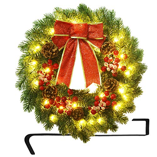 ATDAWN 16 Inch Christmas Wreath, Outdoor Lighted Christmas Wreath for Front Door, Xmas Wreath for Holiday Christmas Party Decorations