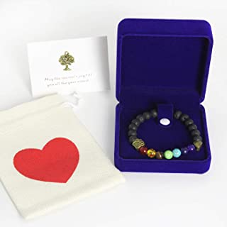 AUCHEN Pet Memorial Bracelet Gift Rainbow Bridge Personalized Nature Lava Bead Sympathy Gifts for Loss of Your Beloved Pets Dog Cat