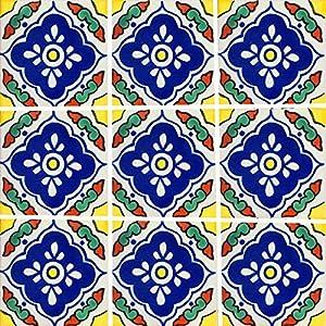 """Color y Tradicion 9 Mexican Tiles 4"""" x 4"""" Hand Painted Talavera C014"""