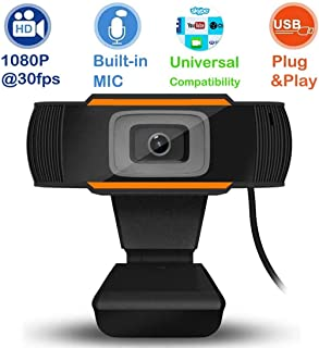 HD 1080P Web Camera (30fps), Webcam for Gaming Conferencing, Laptop or Desktop Webcam with Built-in Microphone, USB Computer Camera for Mac, Free-Driver Installation Fast Autofocus