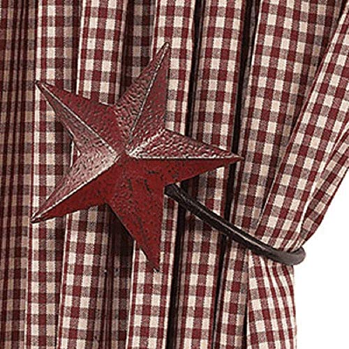 The Country House Collection Burgundy Barn Star Curtain Tiebacks Set/2