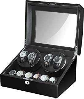 4 Watch Winder Box for Automatic Watches with 6 Storages and Quiet Mabuchi Motor-21 Rotation Modes