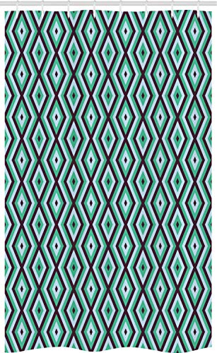 ABAKUHAUS Teal and White Douchegordijn, Retro Diamond Line, voor Douchecabine Stoffen Badkamer Decoratie Set met Ophangringen, 120 x 180 cm, Seal Brown Sea Green