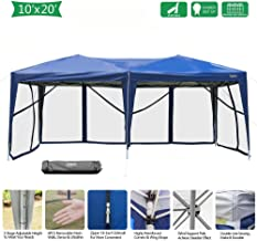 VINGLI EZ POP UP 10'x20' Outdoor Canopy Tent  Removable Mesh Sidewalls & Portable Rolling Carrying Bag, for Camping/Travel/Patio/Gazebo, Sun & Water Resistant