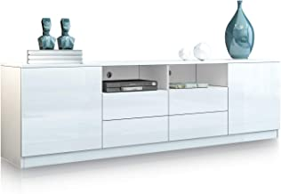 TV Stand Cabinet Wood Entertainment Unit Storage Shelf High Gloss Front with 4 Drawers and 2 Doors White 180CM