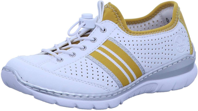 Rieker Women's Low-Top Overseas parallel import regular item Sneakers White U Gelb Price reduction 80 Weiss 7.5