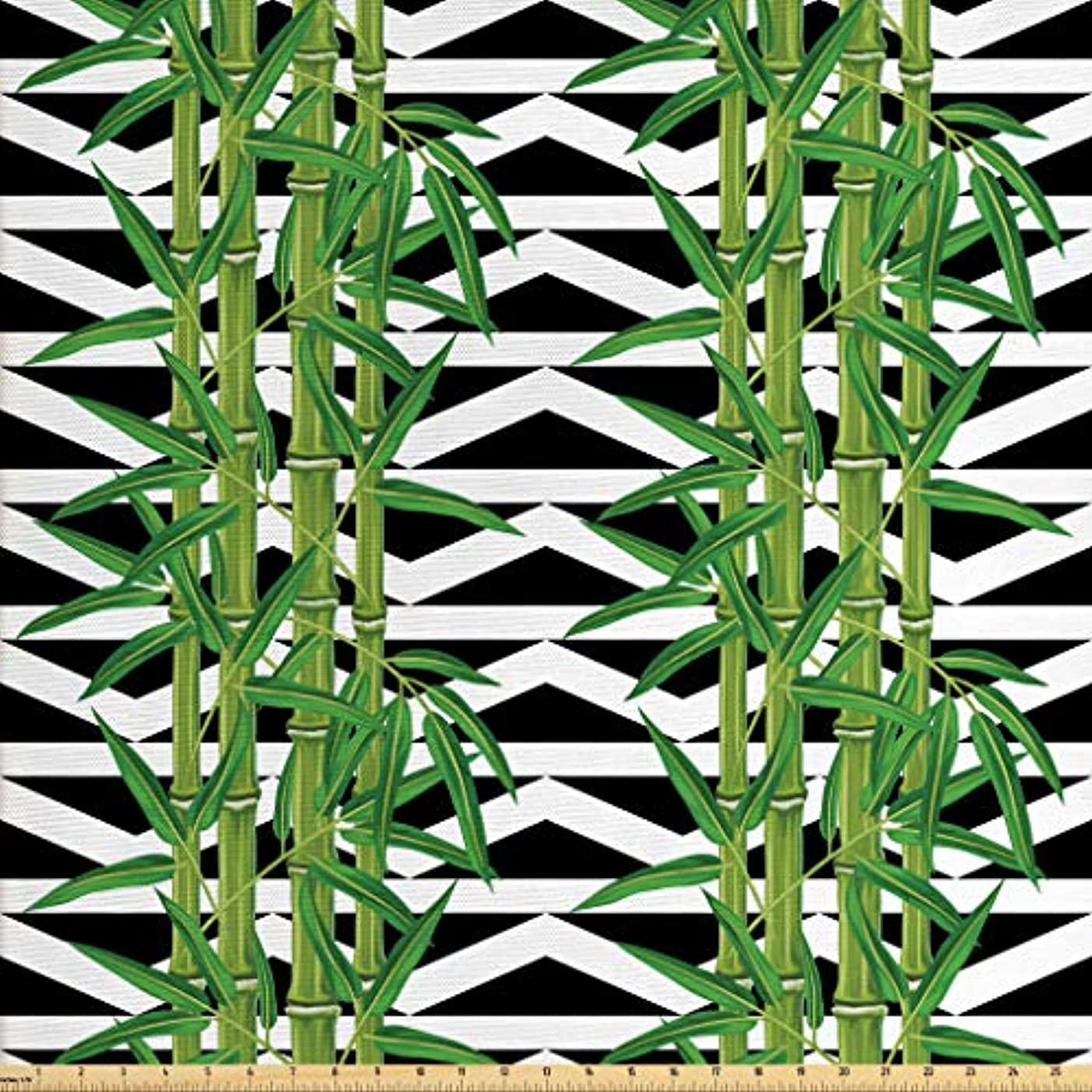 Lunarable Bamboo Fabric by The Yard, Japanese Jungle Eco Theme Tropical Nature Growth with Geometric Backdrop, Decorative Fabric for Upholstery and Home Accents, 2 Yards, Black White Green