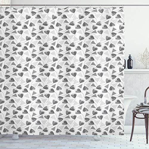 ABAKUHAUS Blumen Duschvorhang, Gepunktete Triangel & Blumen, Trendiger Druck Stoff mit 12 Ringen Farbfest Bakterie & Wasser Abweichent, 175x220 cm, Schwachgrau Pale Taupe Weiß