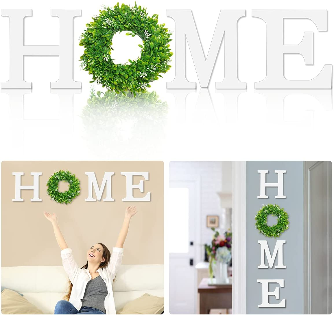 BITLIFUN 12in Home Sign Wall Hanging Wood Letters with Artificial Wreath for Wall Decor, 12in Rustic Wall Letters Home Decor, Farmhouse Wall Decor for Living Room,Bedroom, Kitchen,Doorway, White-W1