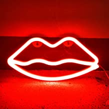 Lippen-lichtreclame, led-lippen, neonlicht, binnen, decoratief gloeiend nachtlampje, USB of batterij, voor thuis, bar, par...