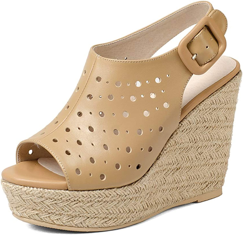 Damen Sandalen Kuhfell Damenschuhe Damen High Heels Rmische Damenschuhe Fish Mouth High Heels Party Schuhe, Absatzhhe 11cm (Farbe   braun, Größe   37)