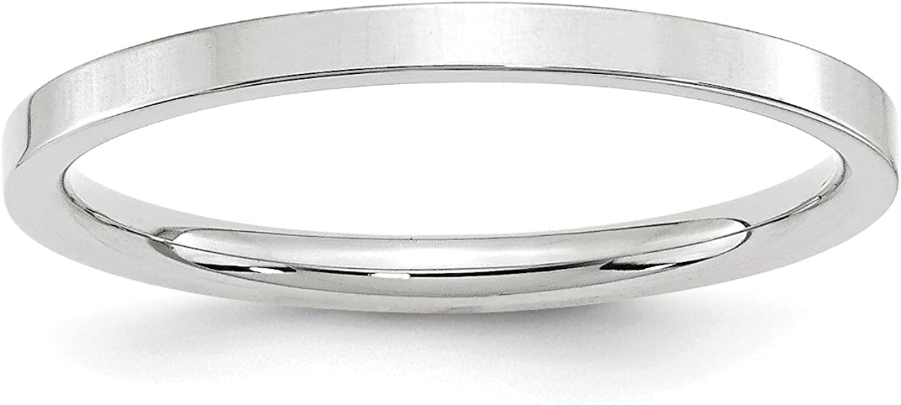 Solid 10k White Gold 2 mm Comfort Fit Flat Wedding Band Ring