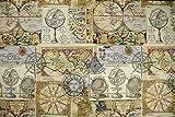 Jacquard Gobelin Weltkarte – beige — Meterware ab 0,5m — zum Nähen von Outdoor Deko, Kissen/Tagesdecken & Tischdekoration