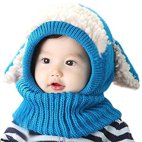 JT-Amigo Sciarpa e Berretto Cappello Invernale a maglia Bimba Bambina Blu