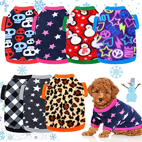 Xuniea 7 Pieces Warm Dog Sweaters for Small Dog Winter Clothes Soft Fleece Puppy Sweater Pets Sweatshirt Coat Thick Dog Outfits for Teddy Chihuahua Yorkshire Poodle
