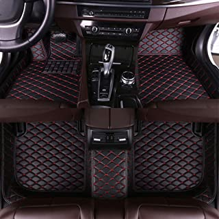 8X-SPEED Custom Car Floor Mats for Mini JCW Clubman 2017 5-Seats Full Coverage All Weather Protection Waterproof Non-Slip Leather Liner Set Black Red