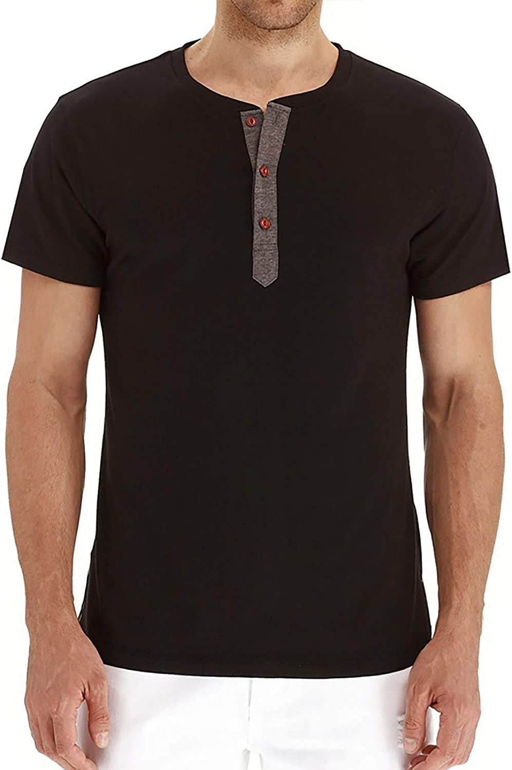 SAMACHICA Mens Fashion Casual Front Placket Henley T-Shirts Summer Cotton Short Sleeve Henley T-Shirts