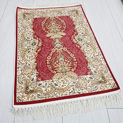 Bahar Oya Çiçeklerden İlhamla... Türkischer Bambus-Teppich, 50 x 70 cm, mit Kelim-Muster, weich wie Seide, Rot