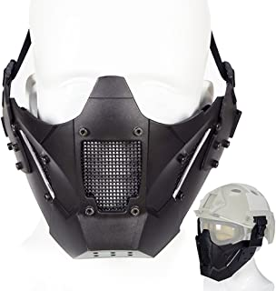 ATAIRSOFT Airsoft Tactical Protective Half Face Mesh Mask Fit Fast Helmet Rail for Hunting Paintball CS Game BB Gun Shooting