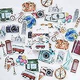 Mini Size Scrapbook Stickers, 45pcs Doraking DIY Decoration Travel Stickers Life Set for Travel Case, Laptop, Planners, Calendars, Scrapbook, Suitcase, Notebooks, Dimension Less 44mm(Travel)