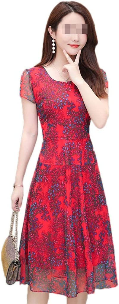 Dress, Women's Cocktail Formal Swing Chiffon Floral Large Size 2 Colors 6 Sizes Sleeveless Slim Business Pencil (Color : A, Size : XL)