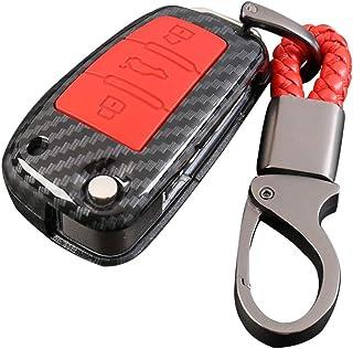 Happyit ABS Kohlefaser Shell + Silikon Autoschlüssel Case Abdeckung Schlüsselbund für Audi Sline A3 A5 Q3 Q5 A6 C5 C6 A4 B6 B7 B8 TT 80 S6 3 Tasten (Rot)