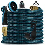 Knoikos Expandable Garden Hose 50ft - Expanding Water Hose with 10 Function Nozzle /Durable 3750D /3/4' Solid Fitting Connectors,Easy Storage Kink Free Garden Water Hose