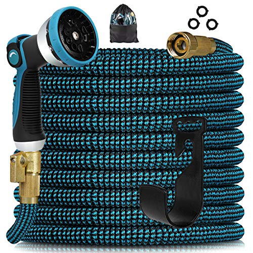 """Knoikos Expandable Garden Hose - Expanding Water Hose with 10 Function Nozzle /Durable 3750D /3/4"""" Solid Fitting Connectors,Easy Storage Kink Free Garden Water Hose"""