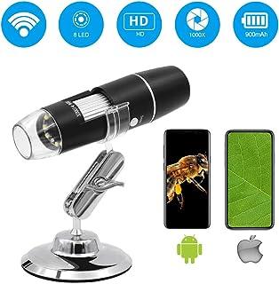 Wifi デジタル顕微鏡 マイクロスコープ 最大1000倍率 2MP 1年保証 iOS/Android 対応 日本語APP USB充電式 写真/動画記録 LED搭載 肌チェック・部品検査・生物観察 ジタルマイクロスコープ 電子顕微鏡 拡大鏡 内視鏡