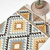 Homescapes Kelim-Teppich Agra, handgewebt aus Wolle/Baumwolle, 120 x 170 cm, bunter Wollteppich/Baumwollteppich mit geometrischem Rautenmuster und Fransen, Gold-grau-schwarz