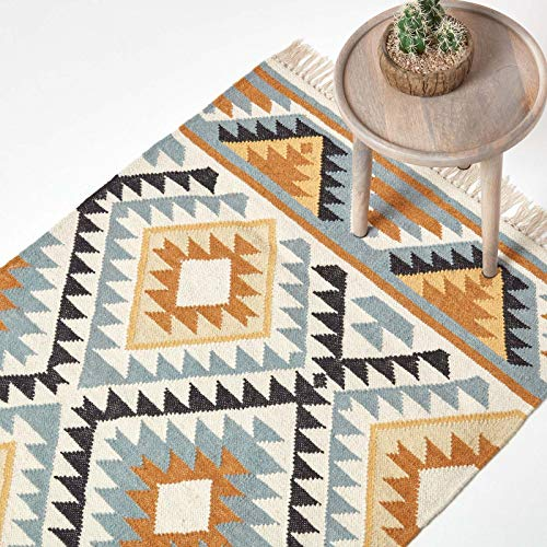 Homescapes Kelim-Teppich Agra, handgewebt aus Wolle/Baumwolle, 160 x 230 cm, bunter Wollteppich/Baumwollteppich mit geometrischem Muster und Fransen, Gold-grau-schwarz