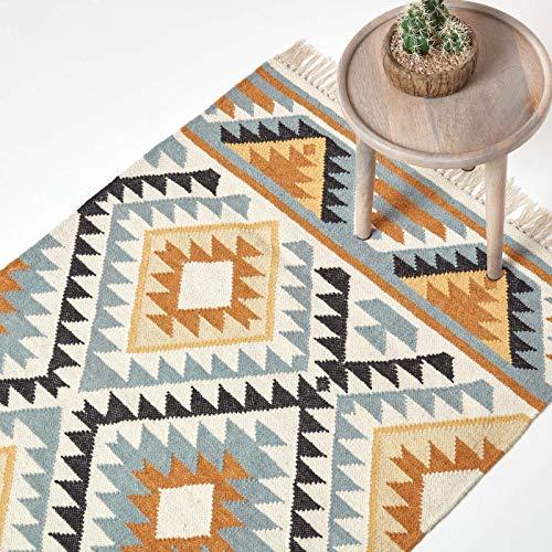 Homescapes Kelim-Teppich Agra, handgewebt aus Wolle/Baumwolle, 160 x 230 cm, bunter...