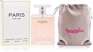Paris For Her Eau de Parfum Spray Perfume, Fragrance For Women-Daywear, Casual Daily Cologne Set with Deluxe Suede Pouch- 3.4 Oz Bottle- Ideal EDT Beauty Gift for Birthday, Anniversary
