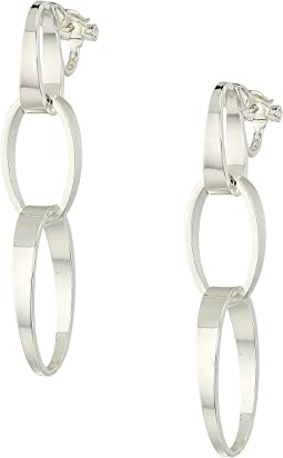 Modern Metal  Linear Tapered Link Clip Earrings
