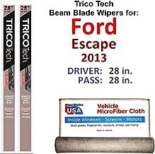 Beam Wiper Blades for 2013 Ford Escape Driver & Passenger Trico Tech Beam Blades Wipers Set of 2 Bundled with Bonus MicroFiber Interior Car Cloth