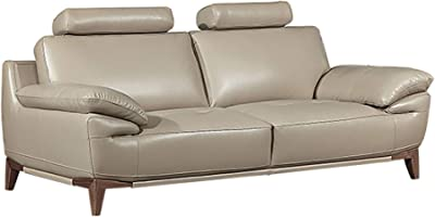 Benjara Leatherette Sofa with Adjustable Headrest and Angled Legs, Gray