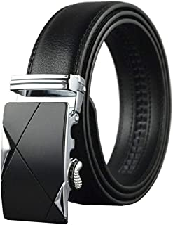 Mens belt Genuine Leather Fashion Belt Ratchet Dress Belt with Automatic Buckle Black