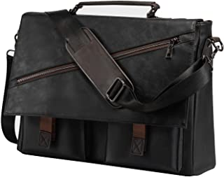 Leather Messenger Bag for Men, 14 15.6 17.3 Inch Vintage Leather Laptop Bag Briefcase Satchel,Large School Work Bag (Blac...