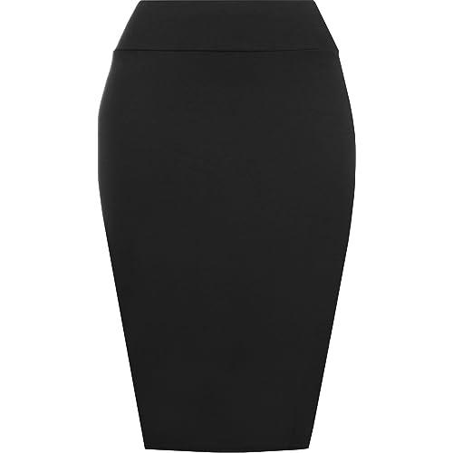 84b83a2307 Pretty Fashion Plain Pencil Skirt | Women's Midi Pencil Skirt | Ladies  Jersey Bodycon Skirt Plus
