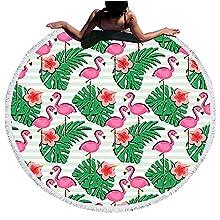 Toallas de Playa Redonda de Microfibra con Borlas, Chickwin Grandes de Antiarena Toallas Baño Secado Rapido Manta Playa Toalla Yoga Deporte Gimnasio para Mujer (Hoja de Palma,Diámetro 150cm/59)
