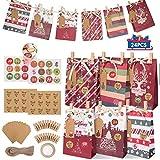 gafild sacchetti regalo natale, 24 pezzi sacchettini biscotti caramelle per feste di carta kraft decorazioni natalizie piccoli bambini con adesivi di tenuta/ciondoli/corda di canapa/clip 22x15x6cm
