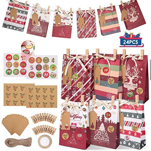 Gafild Adventskalender zum Befüllen, 24 Geschenktüten Weihnachten Kraftpapiertüten mit 48Adventskalender+24Holzklammern+12 Weihnachtsanhänger+Jute Kordel+Band Geschenk Papiertüten Zum Selber Befülle