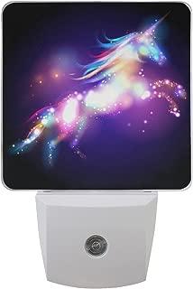 Naanle Set of 2 Magic Unicorn Stars Purple Auto Sensor LED Dusk to Dawn Night Light Plug in Indoor for Adults