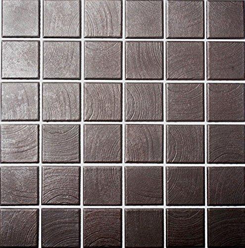Mosaik Quadrat uni braun struktur rutschhemmend R10C Keramik rutschsicher trittsicher anti slip rutschfest Duschtasse Boden Küche Bad WC, Mosaikstein Format: 48x48x6 mm, Bogengröße: 306x306 mm, 10 Bögen