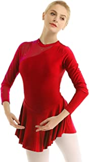 Women's Figure Ice Skating Dress Long Sleeve Mesh Cut Out Back Skirted Leotard Competition Performance Costumes