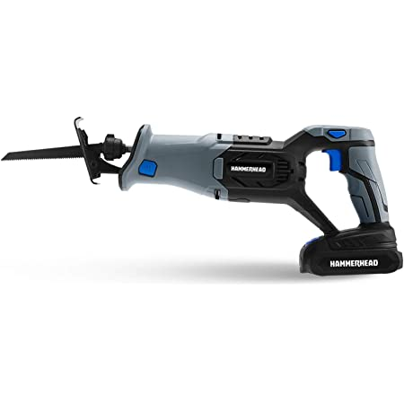 Hammerhead 20V Cordless Reciprocating Saw Kit with 2.0Ah Battery, Charger, Wood Cutting Blade – HCRS201
